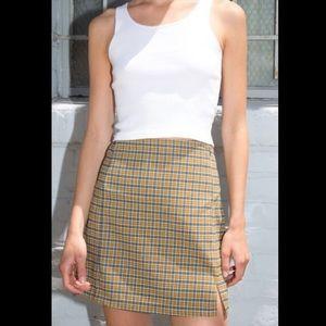 BM Yellow & Blue Plaid Cara Slit Skirt